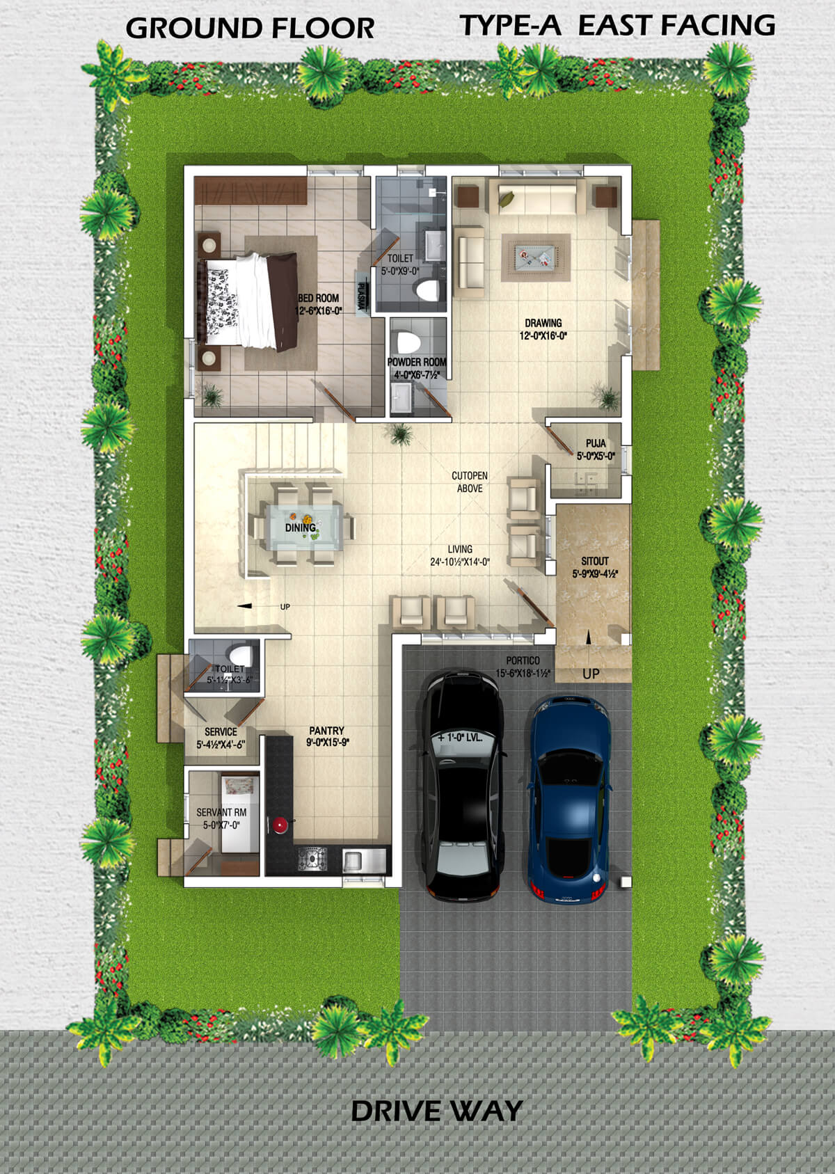 Myans villas type a east facing villas for Home layout planner