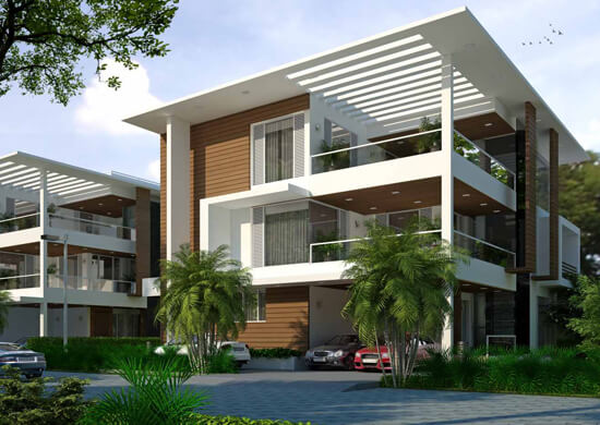 East Facing Ground Floor Elevation : Myans luxury villas east coast road chennai ecr